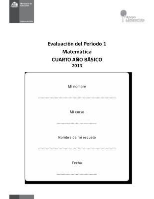 CUARTO  DE PRIMARIA EVALUACION MATEMATICA PRIMER TRIMESTRE IMAGEN