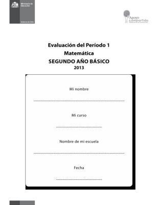 SEGUNDO  DE PRIMARIA EVALUACION MATEMATICA PRIMER TRIMESTRE IMAGEN