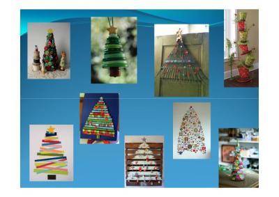 decoramos en navidad arboles diferentes con materiales reciclados