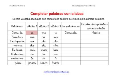 Ejercicios para niños con dislexia Completar palabras con sílabas imagen 3