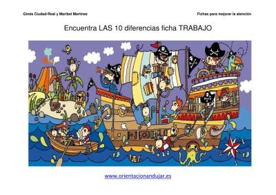 lamina de piratas encuentra las diferencias PIRATAS 2