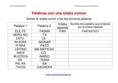 ACTIVIDADES DISLEXIA  papabras con una silaba común imagen 1