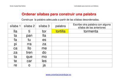 Ejercicios dislexia ordenar sílabas para construir una palabra imagen 1