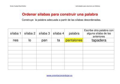 Ejercicios dislexia ordenar sílabas para construir una palabra imagen plantilla 2