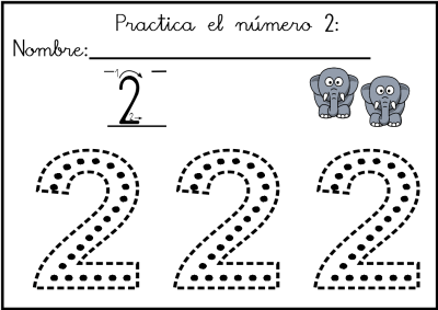 lectoescritura de numeros el 2 ficha 6