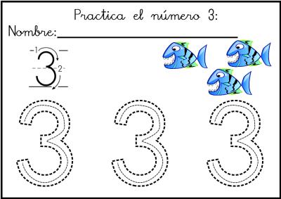 lectoescritura de numeros el 3  ficha 7