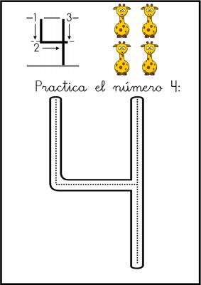 lectoescritura de numeros el 4 ficha 2