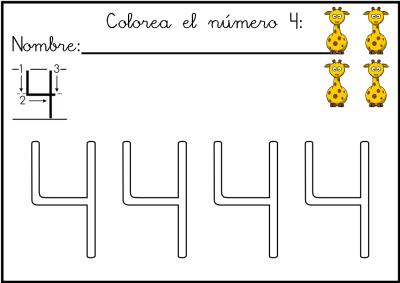 lectoescritura de numeros el 4 ficha 8