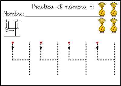 lectoescritura de numeros el 4 ficha 9