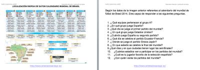 Calendario Mundial 2014 Brasil Localización rápida de datos trabajamos la atención