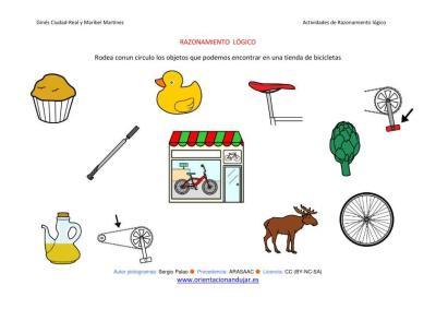 RAZONAMIENTO  LÓGICO categorizar y agrupar ficha-22-tienda de bicicletas IMAGEN