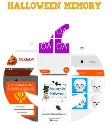 Terrorífico y divertido Memory de Halloween para Android APP gratuita DESTACADA