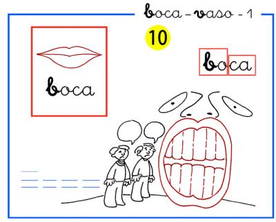 Completo método de lectoescritura paso a paso letras b-v  de boca y vaso
