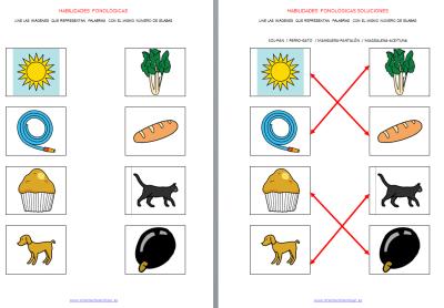 Unir imágenes que tengan igual número de sílabas HABILIDADES FONOLÓGICAS