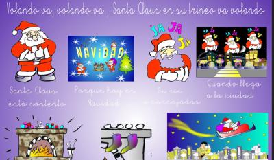 Divertido Villancico original Papa Noel volando va  video, audio, letra y musicograma