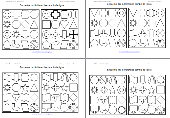 Encuentra las diferencias y colorea en formas geometricas for Las formas geometricas