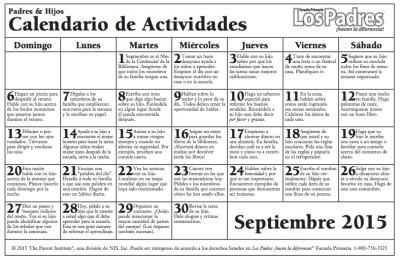 Calendario con actividades Septiembre para hacer con nuestros hijos e hijas PRIMARIA PRIMEROS CURSOS 1