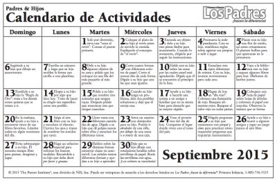 Calendario con actividades para hacer con nuestros hijos e hijas más pequeños 1