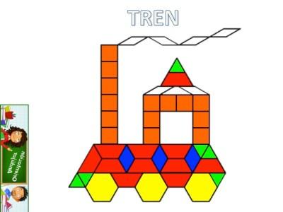 Medios de transporte con Pattern Blocks Mats tren
