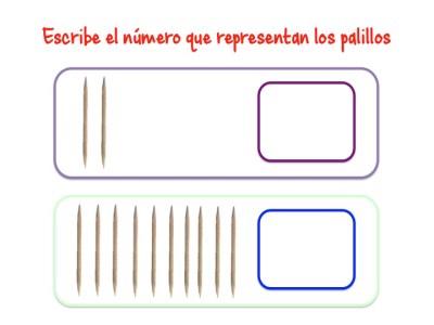 ABN Escribe el número que representan los palillos centenas 2