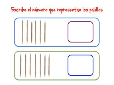 ABN Escribe el número que representan los palillos centenas 3