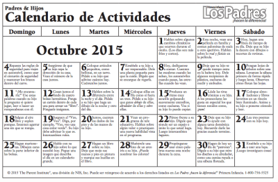Calendario con actividades  Octubre para hacer con nuestros hijos e hijas más pequeños actividades