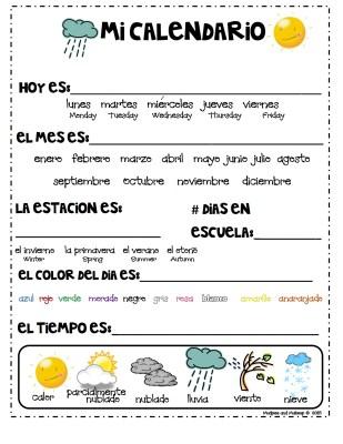 trabjar calendario en inglés y español