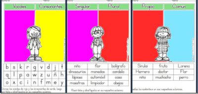 Colección de fichas para repasar las vocales y consonantes, masculino y femenino, singular plural, etc….