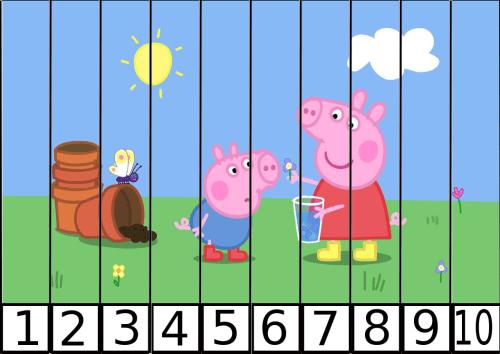 puzles de numeros pepa pig 1-10-1