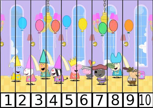 puzles de numeros pepa pig 1-10-4