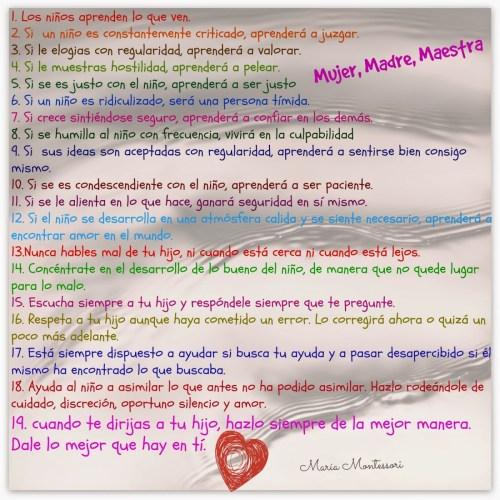 19 Mandamientos de María Montessori para los padres de familia Portada
