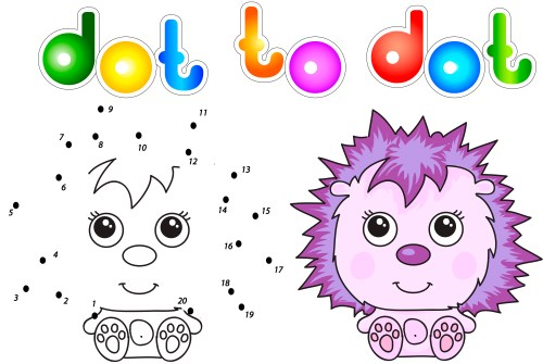 Funny and cute hedgehog. Vector illustration for children. Dot to dot game