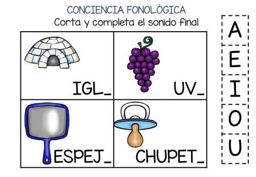 Conciencia fonológica vamos a Jugar con el Sonido Final VOCAL (1)