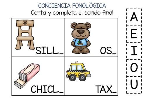 Conciencia fonológica vamos a Jugar con el Sonido Final VOCAL (2)