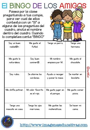 """Actividad para los primeros días de clase """"El BINGO DE LOS AMIGOS"""" (4)"""