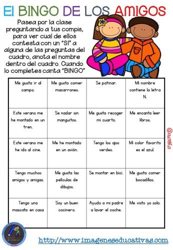 """Actividad para los primeros días de clase """"El BINGO DE LOS AMIGOS"""" (7)"""