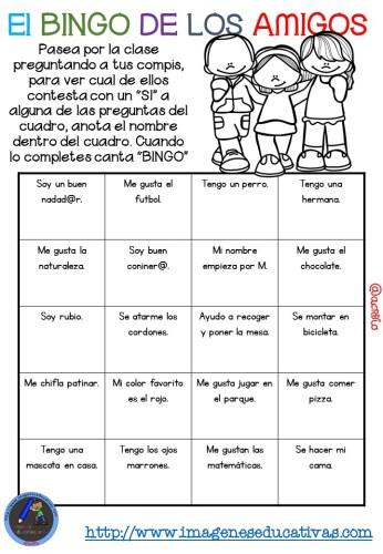 """Actividad para los primeros días de clase """"El BINGO DE LOS AMIGOS"""" (9)"""