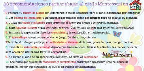 Estilo Montessori 10 recomendaciones para desarrollar el aprendizaje y el juego en nuestras casas