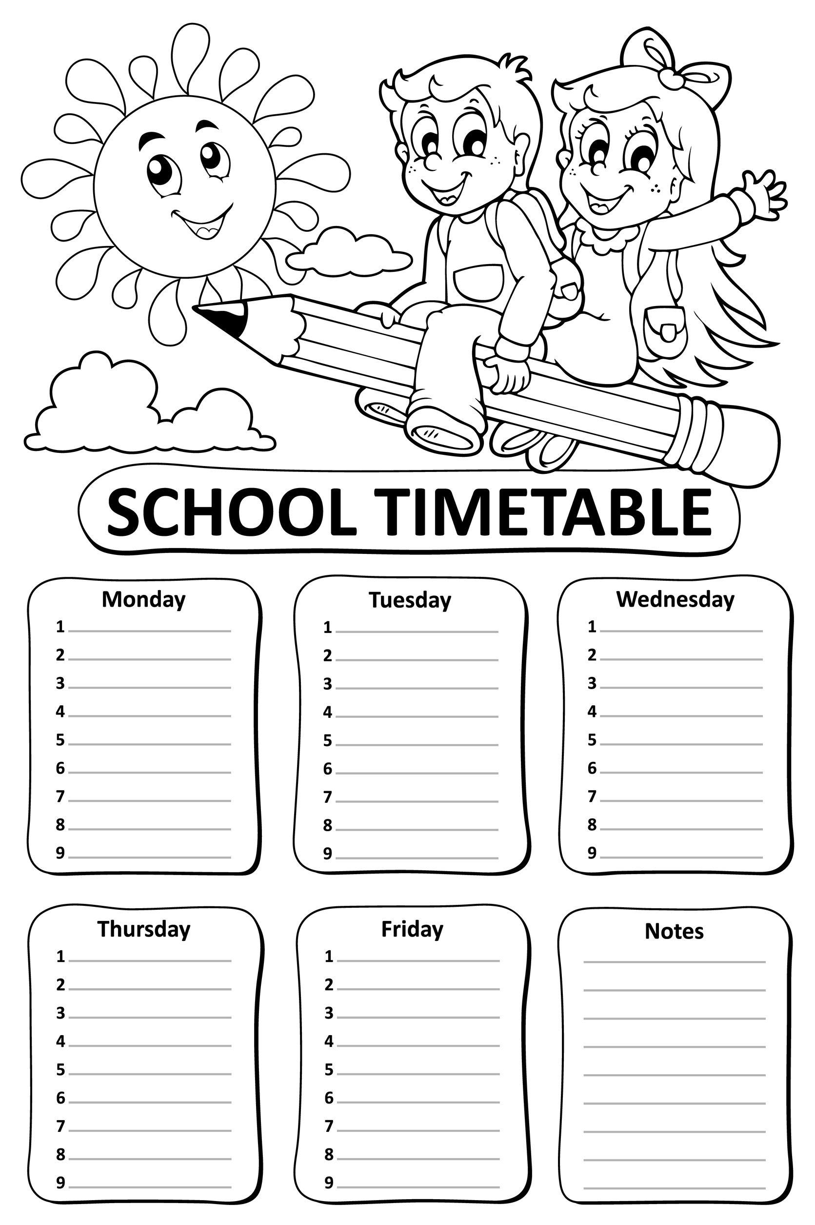 60233187 - black and white school timetable theme