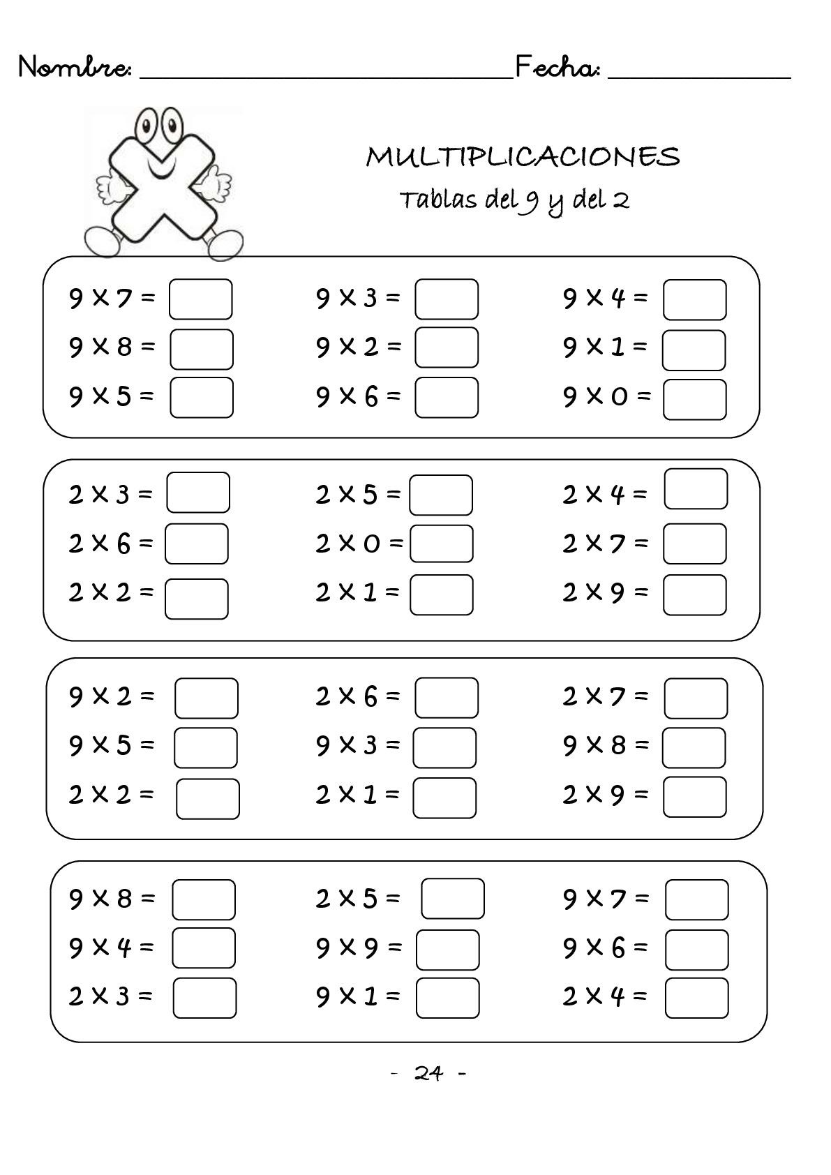 Cuaderno de multiplicaciones rápidas para primaria -Orientacion Andujar