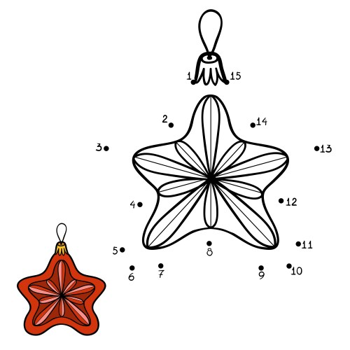 Numbers game, education dot to dot game for children. Christmas toys, star