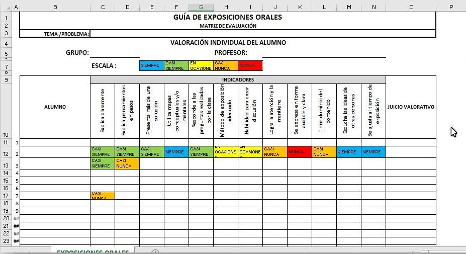 Conjunto de rubricas automatizadas en Excel para distintos temas ...