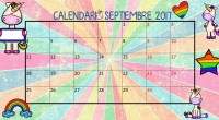 Aquí dejo el calendario del mes de septiembre de 2017 con motivos unicornios para que puedas organizar tus clases y decorar tu aula.