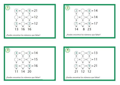 juegos matemáticos para primaria 3x3 sumas -Orientacion Andujar