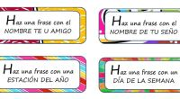 Hemos preparado esta sencilla actividad para que nuestros alumnos/as construyan una serie de frase siguiendo las instrucciones indicadas.