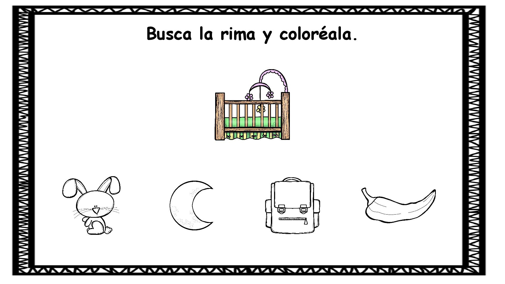 Conciencia Fonológica: Rima y Colorea -Orientacion Andujar