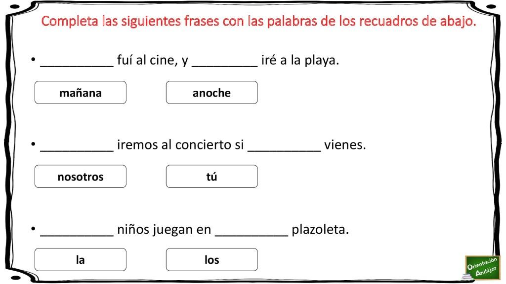 Lectoescritura Completa Las Frases Con Las Palabras Del