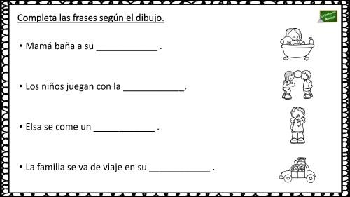 Lectoescritura Con Dibujos: Completa Las Frases