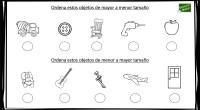 A continuación, os presentamos un sencillo ejercicio matemático para trabajar las magnitudes, en concreto, el tamaño de objetos; ordenando éstos de mayor a menor y viceversa.