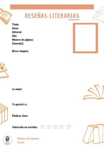 Ficha Para Hacer Reseñas Literarias Orientacion Andujar